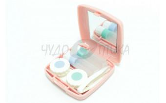 Дорожный набор для контактных линз, розовый