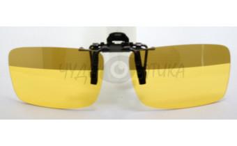 Поляризационные накладки-шторки на очки для водителя желтые с полосой сверху