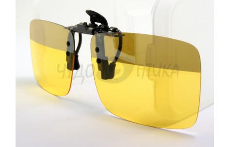 Поляризационные накладки-шторки на очки для водителя желтые с полосой сверху/200016 by .