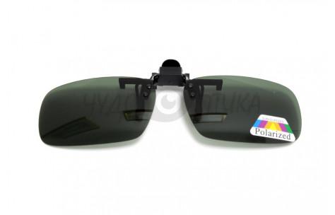 Поляризационные накладки-шторки на очки Polarized черные, размер M