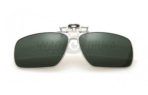 Поляризационные накладки-шторки на очки Polarized в металлической оправе,  хамелеон зеленый/200008 by