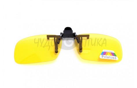 Поляризационные накладки-шторки на очки Polarized желтые, размер L