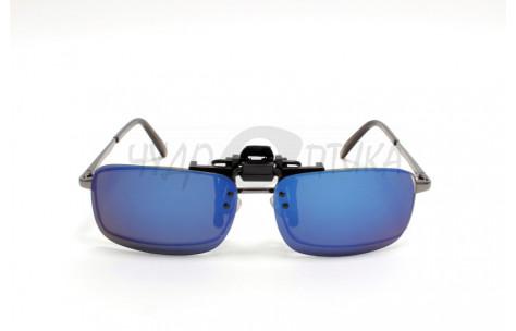 Поляризационные накладки-шторки на очки Polarized хамелеон синий, размер S