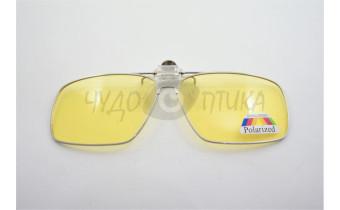 Поляризационные накладки-шторки на очки Polarized в металлической оправе,  желтый