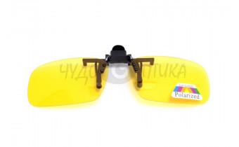 Поляризационные накладки-шторки на очки Polarized желтые, размер S