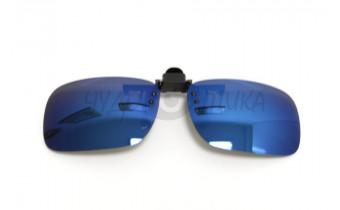 Поляризационные накладки-шторки на очки Polarized хамелеон синий, размер L