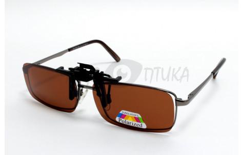 Поляризационные накладки-шторки на очки Polarized коричневые, размер M