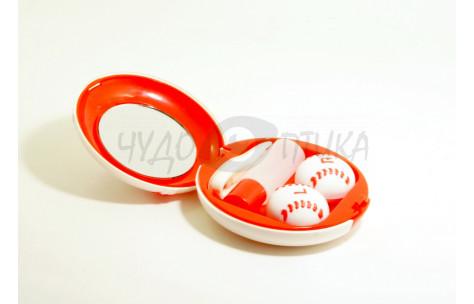 """Дорожный набор для контактных линз """"Бейсбольный мяч"""" Eyekan A-8060, красный"""