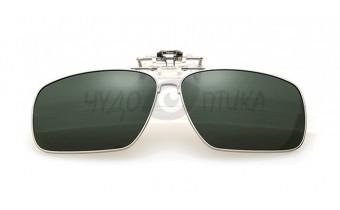Поляризационные накладки-шторки на очки Polarized в металлической оправе, темно-зеленые