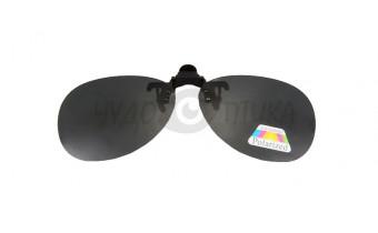 Поляризационные накладки-шторки на очки Polarized черные, размер XL (Aviator) в футляре