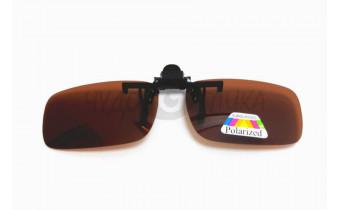 Поляризационные накладки-шторки на очки Polarized коричневые, размер L