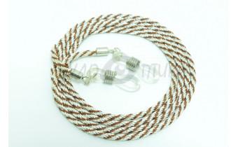 Шнур для очков (серебряный + коричневый)