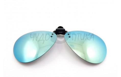 Поляризационные накладки-шторки на очки Polarized хамелеон зеленый, размер XL (Aviator)