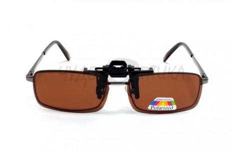 Поляризационные накладки-шторки на очки Polarized коричневые, размер S