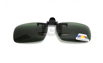 Поляризационные накладки-шторки на очки Polarized черно-серые, размер L