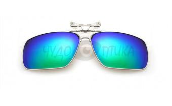 Поляризационные накладки-шторки на очки хамелеон в металлической оправе, сине-зеленые