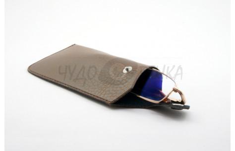 """Футляр """"Кожаный карман на кнопке"""" A-3, коричневый"""