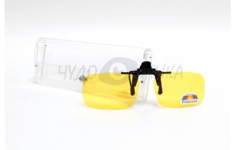 Поляризационные накладки-шторки на очки Polarized желтые, размер M