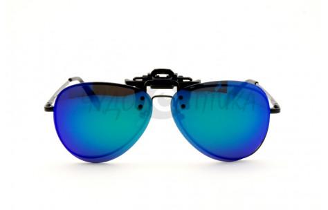 Поляризационные накладки-шторки на очки Polarized хамелеон фиолетовый, размер XL (Aviator)