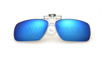 Поляризационные накладки-шторки на очки хамелеон в металлической оправе, синий