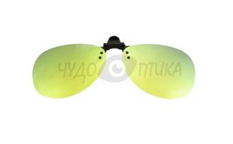 Поляризационные накладки-шторки на очки Polarized хамелеон желто-зеленый, XL (Aviator) в футляре