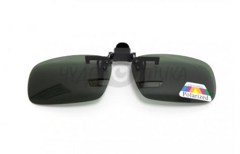 Поляризационные накладки-шторки на очки Polarized зеленые, размер L