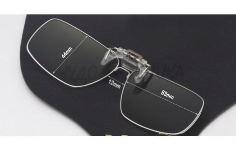 Поляризационные накладки-шторки на очки Polarized в металлической оправе, серый/200011 by